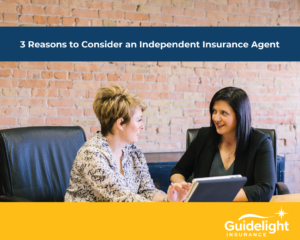 Independent Insurance agent helping client